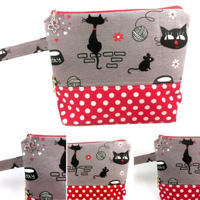 Cats 'n Yarn Projecttas – Rode Polkadot bodem
