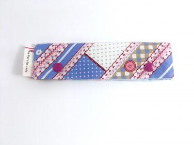 Breinaalden Houder – Regular (15 cm) Blauw en Roze met Knopen