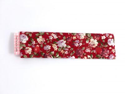 Breinaalden Houder – Regular (15 cm) Rood met Rozen