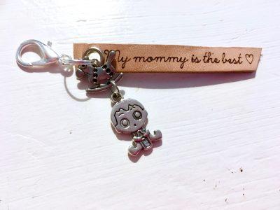 Leren Sleutelhanger – My Mommy is the best (Hobbelpaard & Baby)
