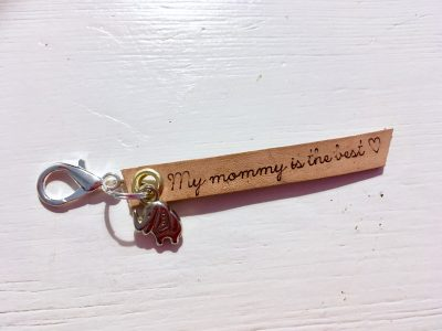 Leren Sleutelhanger – My Mommy is the best (Olifantje)
