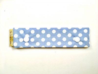 Breinaalden Houder – Regular (15 cm) Blauw met Witte Stippen