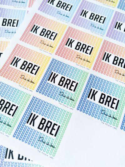 Vel Stickers: Ik brei – Dus ik ben (Noem je Prijs!)